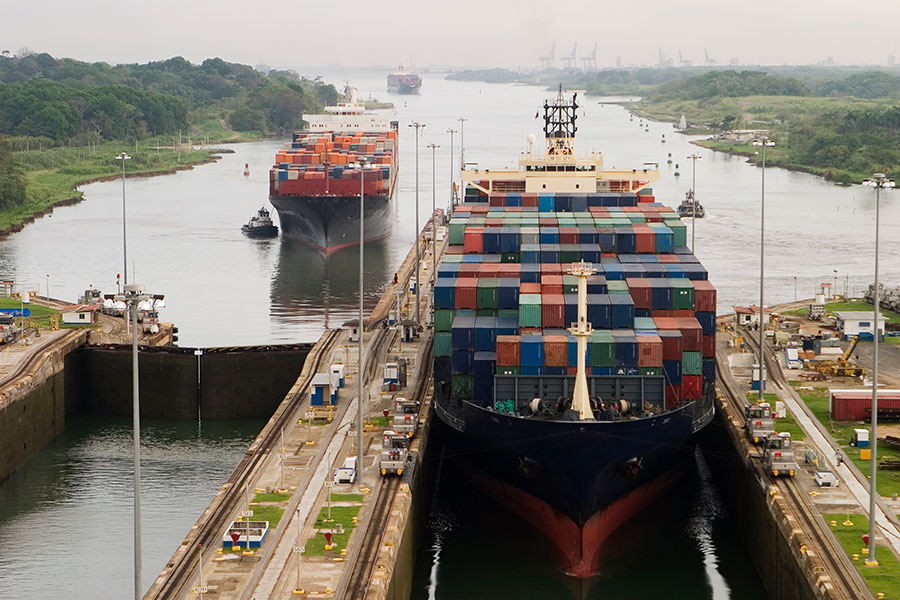 Freighters entering the Panama Canal