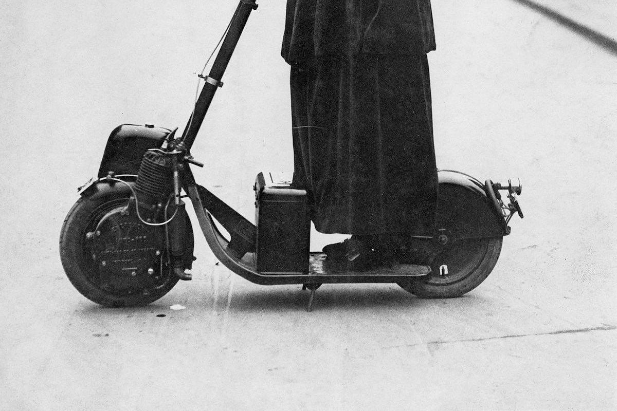 Lady Florence Norman, a suffragette, on her motor-scooter in 1916